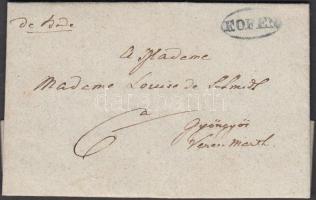 1843 Portós levél / cover with postage due kék / blue F.OFEN - Gyöngyös