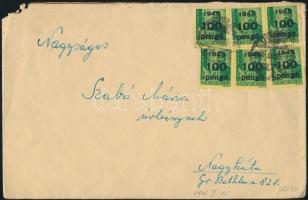 1946 (6. díjszabás) Távolsági levél 6x Kisegítő 100P/12f bérmentesítéssel (sarokhiány)
