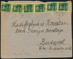 1946 (6. díjszabás) Távolsági levél 6x Kisegítő 100P/12f bérmentesítéssel (hiányzó hajtóka)
