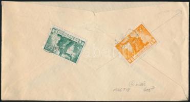 1946 (6. díjszabás) Távolsági levél Újjáépítés 100P + 500P bérmentesítéssel (hiányos hajtóka)