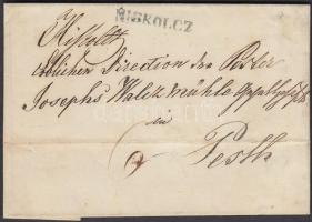 1846 Portós levél / cover with postage due, zöld / green MISKOLCZ - PESTH