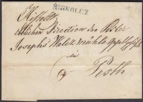 1846 Portós levél / cover with postage due, zöld / green MISKOLCZ - PESTH