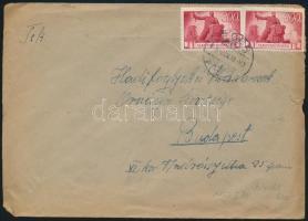 1946 (6. díjszabás) Távolsági levél 2x Újjáépítés 300P bérmentesítéssel
