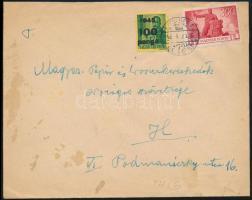 1946 (6. díjszabás) Helyi levél Újjáépítés 300P + Kisegítő 100P/12f bérmentesítéssel
