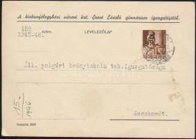 1946 (6. díjszabás) Távolsági levelezőlap Betűs Tlp.I./4f bérmentesítéssel