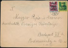 1946 (6. díjszabás) Helyi levél Kisegítő 100P/12f + 300P/30f bérmentesítéssel (hiányos hajtóka)