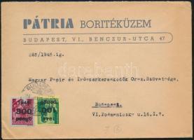 1946 (6. díjszabás) Helyi céges levél Kisegítő 100P/12f + 300P/30f bérmentesítéssel