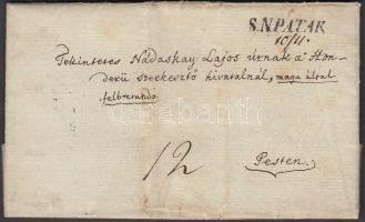 1847 Portós levél tartalommal, kézírásos dátummal / cover with postage due, with handwritten date and content S.N.PATAK - PESTH