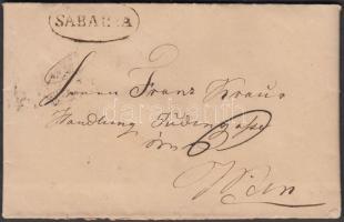 1834 Portós levél / cover wih postage due SABARIA - WIEN