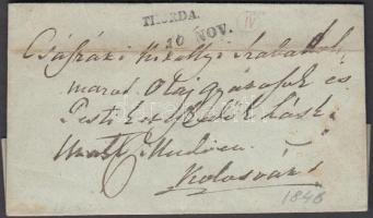 1846 Portós levél / cover with postage due THORDA. - Kolozsvár