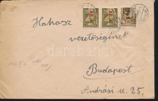 1946 (7. díjszabás) Távolsági levél Betűs Tl.I./10f + 2x Ajl.I./20f bérmentesítéssel