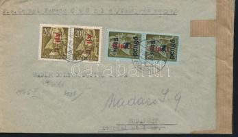 1946 (7. díjszabás) Távolsági levél Betűs Hlp.I./8P + 2x Ajl.I./20f bérmentesítéssel