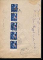 1946 (7. díjszabás) Távolsági levél 5x Betűs Hl.I./50f tévesen a helyi levél bérmentesítésével