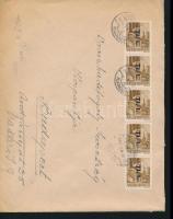 1946 (7. díjszabás) Távolsági levél Betűs 5x Tl.I./10f bérmentesítéssel