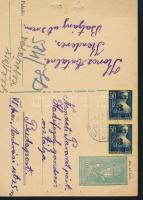 1945 (3. díjszabás) Távolsági levelezőlap 2x Kisegítő 3P/50f bérmentesítéssel