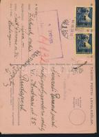 1945 (3. díjszabás) Távolsági levelezőlap 2x Kisegítő 3P/50f bérmentesítéssel, a válasz reményében még egy levelezőlap hozzátűzve, megcímezve és felbélyegezve