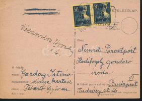 1945 (3. díjszabás) Távolsági levelezőlap 2x Kisegítő 3P/50f bérmentesítéssel FEHÉRTÓ POSTAI ÜGYN.