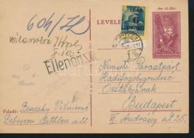 1945 (3. díjszabás) Távolsági levelezőlap Kisegítő 6P/50f bérmentesítéssel cenzúrázva