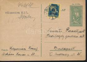 1945 (3. díjszabás) Távolsági levelezőlap Kisegítő 6P/50f bérmentesítéssel