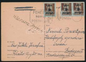 1945 (3. díjszabás) Távolsági levelezőlap 3x Kisegítő 2P/4f bérmentesítéssel FEHÉRTÓ POSTAI ÜGYN
