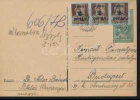 1945 (3. díjszabás) Távolsági levelezőlap 3x Kisegítő 2P/4f bérmentesítéssel, cenzúrázva