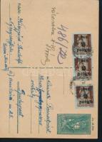 1945 (3. díjszabás) Távolsági levelezőlap 3x Kisegítő 2P/4f bérmentesítéssel