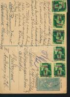 1945 (3. díjszabás) Távolsági levelezőlap 6x Kisegítő 1P/1P bérmentesítéssel