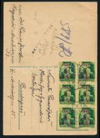 1945 (3. díjszabás) Távolsági levelezőlap 6x Kisegítő 1P/1P bérmentesítéssel, cenzúrázva