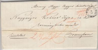 1849 Ajánlott ex offo WIESELBURG - PRESBURG