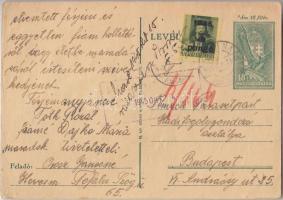 1945 (3. díjszabás) Távolsági levelezőlap Kisegítő 5P/8f bélyeggel 1 Pengővel alulbérmentesítve