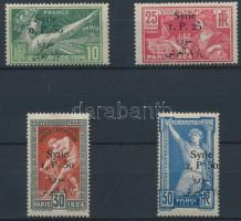 1924 Párizsi nyári olimpia sor felülnyomással Mi 254-257