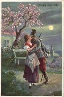 WWI K.u.K. soldier with his love s: A. Stephan, Első világháborús K.u.K. katonai lap, csókolózó pár