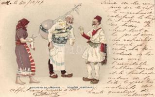 Greek lemonade vendor, folklore litho, Görög limonádé árus, folklór, litho