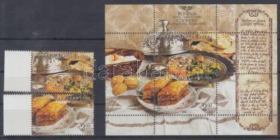 Europe CEPT: Gastronomy margin set + block, Europa CEPT: Gasztronómia ívszéli sor + blokk