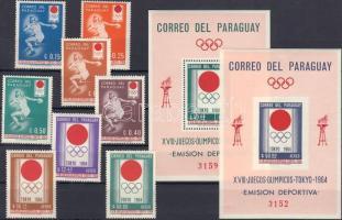 1964 Tokioi olimpia Mi 1265-1272 + blokk 50-51