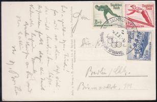 1936 Képeslap téli olimpia bélyegekkel és alkalmi bélyegzéssel / Postcard with winter olympic set and special cancellation