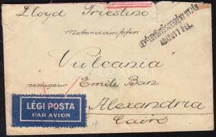1932 Légi levél Alexandriába a Vulcania hajó utasának / Airmail cover to Alexandria to passenger of steamer Vulcania