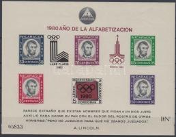 1980 Téli és nyári olimpia blokk felülnyomással Mi 126
