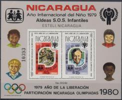 1980 Nemzetközi gyermekév és olimpia blokk (apró törés a felső sarkon) Mi 110 A