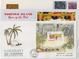 Kiribati, Mongólia, Norfolk szigetek 1996 A Patkány éve 3 FDC