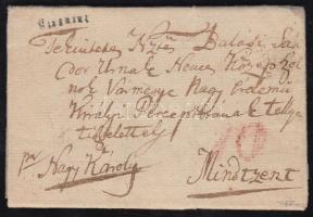 1825 Portós levél tartalommal Sófalváról / unpaid cover with content BISTRITZ (Gudlinban nem szerepel) - Mindszent Certificat: Puschmann