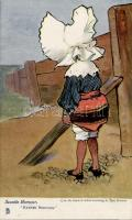 'Rather nervous', Raphael Tuck & Sons Oilette's 'Seaside humour' Nr. 6441. s: Tom Browne