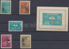 1962 Tokiói olimpia vágott sor Mi 657 B-661 B + blokk Mi 8 B