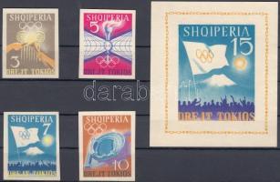 1964 Tokiói nyári olimpia vágott sor Mi 828-831 + blokk Mi 23 (falcos)