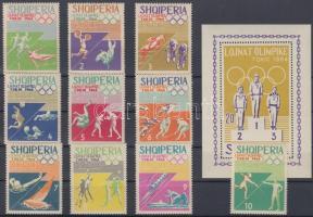 1964 Tokiói nyári olimpia sor Mi 859-868 (falcos) + blokk Mi 26 A
