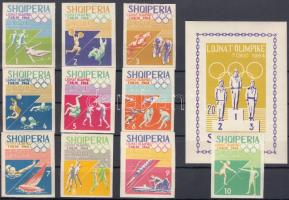 1964 Tokiói nyári olimpia vágott sor Mi 870-879 + blokk Mi 26 B