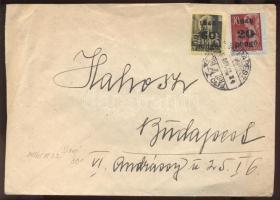 1945 (5. díjszabás) Helyi levél Kisegítő 20P/30f + 60P/18f bérmentesítéssel, Gazdák Biztosító Szövetkezete levélzáróval