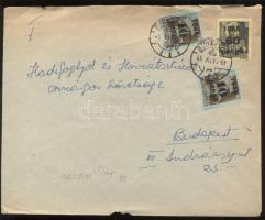 1945 (5. díjszabás) Helyi levél Kisegítő 2x 10P/80f + 60P/18f bérmentesítéssel