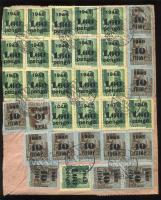 1945 (5. díjszabás) Távolsági levél 51 db Kisegítő bélyeggel (3 féle) bérmentesítve