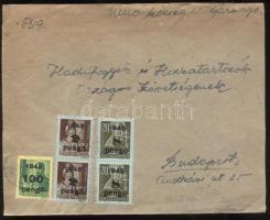 1945 (5. díjszabás) Távolsági levél 3 klf Kisegítő bélyeggel bérmentesítve